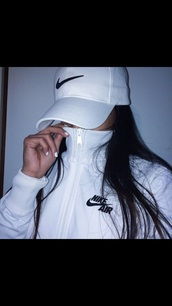 hat,nike,white,jacket,cap,snapback,white hat,nike sweater,white jacket,white sweater,nike jacket,nike air,sportswear,windbreaker,white with black print nike jacket,nike white jacket,black,swish,nike air jacket,nike hat,sweater,fashion,style,fitness,black and white nike jacket,cute,swag,baddies,summer,style scrapbook,nike air white