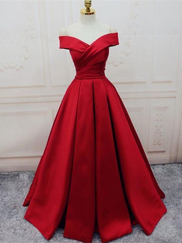 Red Off Shoulder Floor Length Prom Dress, Off Shoulder Formal Dress
