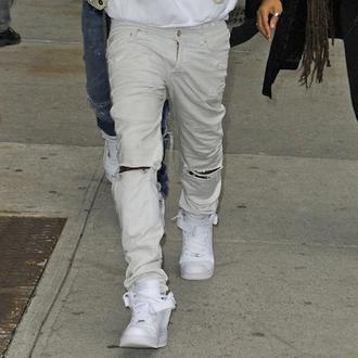 jeans white denim rips ripped menswear men's boy beige mens ripped jeans