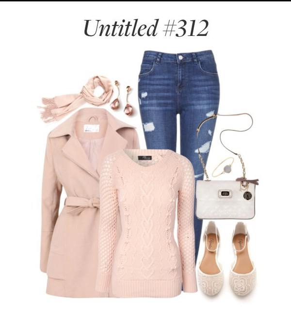 coat pink sweater pink flats pink purse coach winter outfits white cream bracelets blue jeans pink coat jeans ballet flats purse jewelry scarf trench coat winter coat spring earrings sweater shoes home accessory jewels