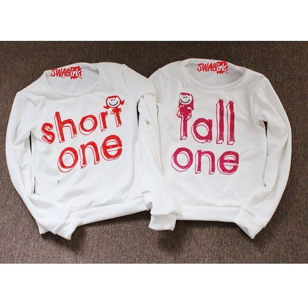 sweater short one tall one bff matching shirts shirt t-shirt quote on it couple sweaters sweater boyfriend girlfriend bff bff hoodie sweatshirt bff shirts matching set best friend shirts swag white sweater swagirts sweater bff sweaters jumper short one tall one long sleeve shirt zara primark h&m matching set white pink jacket black