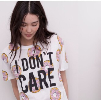 t-shirt donut gimme doughnuts cute i don't care cool funny white food yummy
