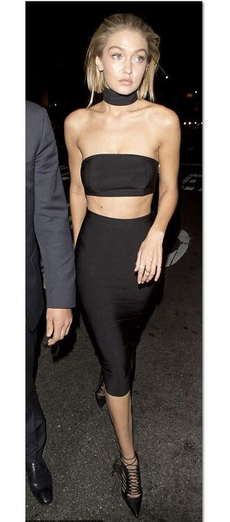 skirt pencil skirt two-piece two piece dress set gigi hadid pumps crop tops bodycon bandeau shoes