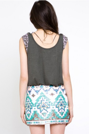 Tribal Print Sequin Skirt - Sequin Skirts - $56