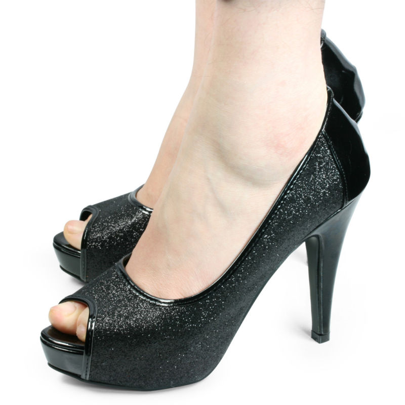 Sexy Womens Black Glitter Party Heels Shoes US 8 | eBay