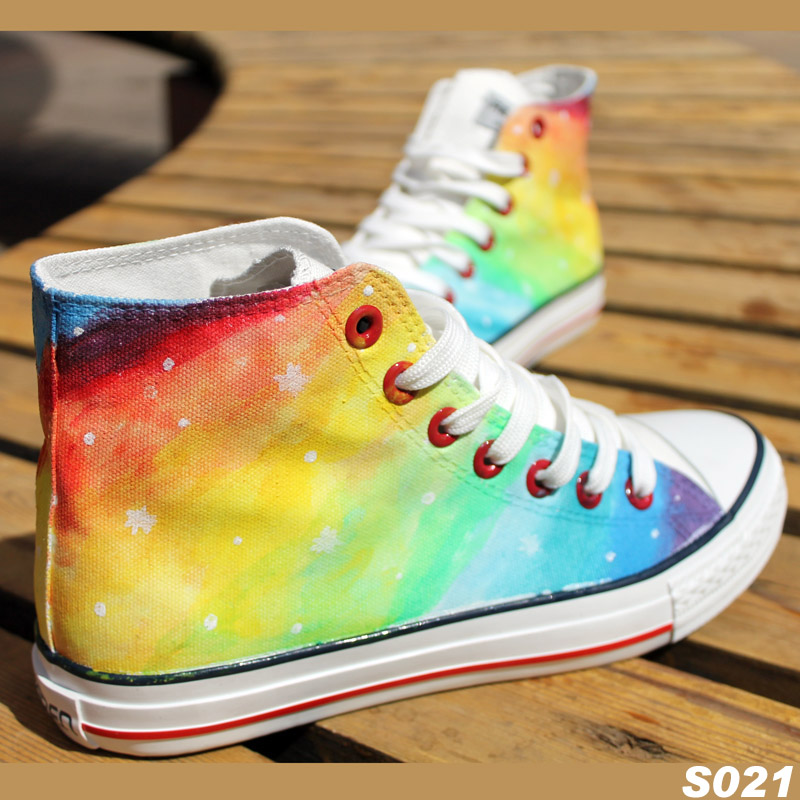 2014 100% DIY /gradient color high canvas  lovers shoes personality female  Camouflage rainbow Sneakers shoes for women /men-inWomen's Fashion Sneakers from Shoes on Aliexpress.com