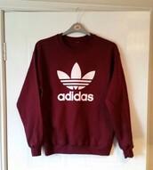 sweater,adidas,burgundy,maroon/burgundy,burgundy sweater,adidas sweater,red,crewneck,crewneck sweatshirt,crewneck sweater,adidas crewneck,burgendy,sweatshirt,shirt