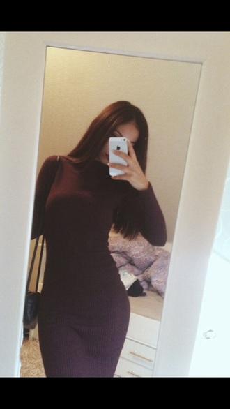 dress burgundy dress midi dress high neck ribbed