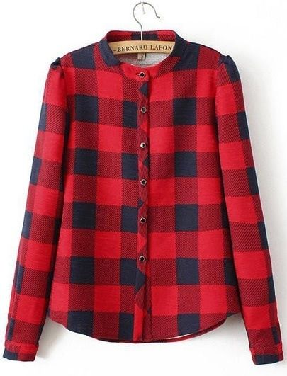 Women's red and black round neck buttoned down checkered shirt size uk 8