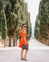 dress,mini dress,slide shoes,bag,sunglasses,silk dress