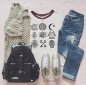 t-shirt,shirt,cardigan,harry potter,shoes,style,sweater,knit,knitted sweater,bag,teenagers,sneakers,knitted cardigan,jewels,jeans