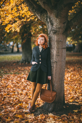 the clothes blogger jacket top skirt tights bag shoes fall outfits beret brown bag blazer booties