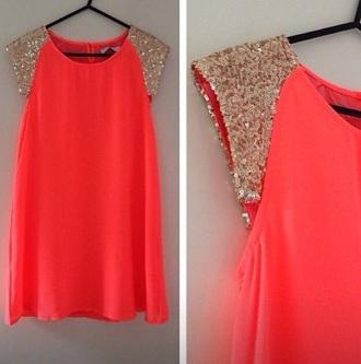dress orange orange dress sequins corail corail dress sequin dress sparkle