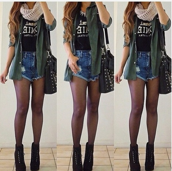 jeans cool coat scarf t-shirt shoes