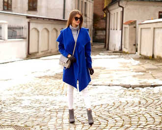 only my fashion style blogger coat shoes jewels gloves bag blue coat fall outfits winter outfits crossbody bag ankle boots white jeans
