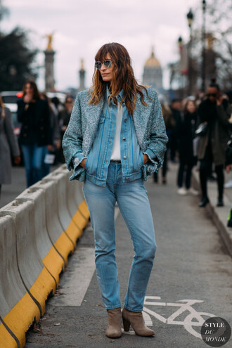 shirt denim denim shirt jacket jeans boots sunglasses