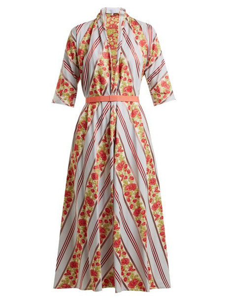 Luisa Beccaria - Floral Fil Coupe Dress - Womens - Blue Multi