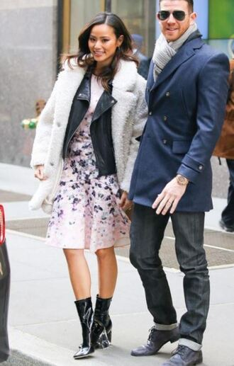 dress jamie chung boots floral floral dress jacket