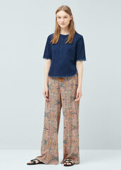 pants,wide-leg pants,printed pants,boho pants,frayed top,denim top
