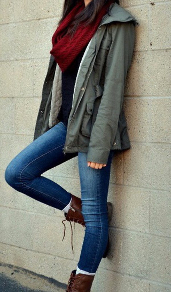 jacket army green jacket army green shoes back to school coat olive green fall outfits fall outfits scarf boots combat boots jeans denim jacket denim vest gorgeous stylish style khaki