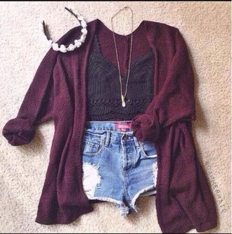 cardigan knitted cardigan winter sweater cozy sweater burgundy sweater