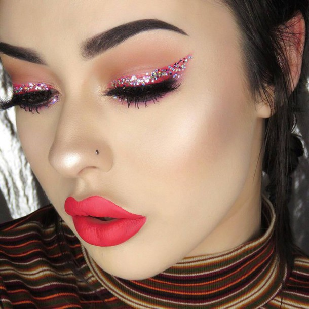 Make-up: new years eve makeup, tumblr, party make up, red ...