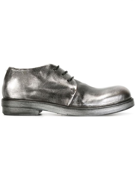 metallic women shoes lace-up shoes lace leather grey