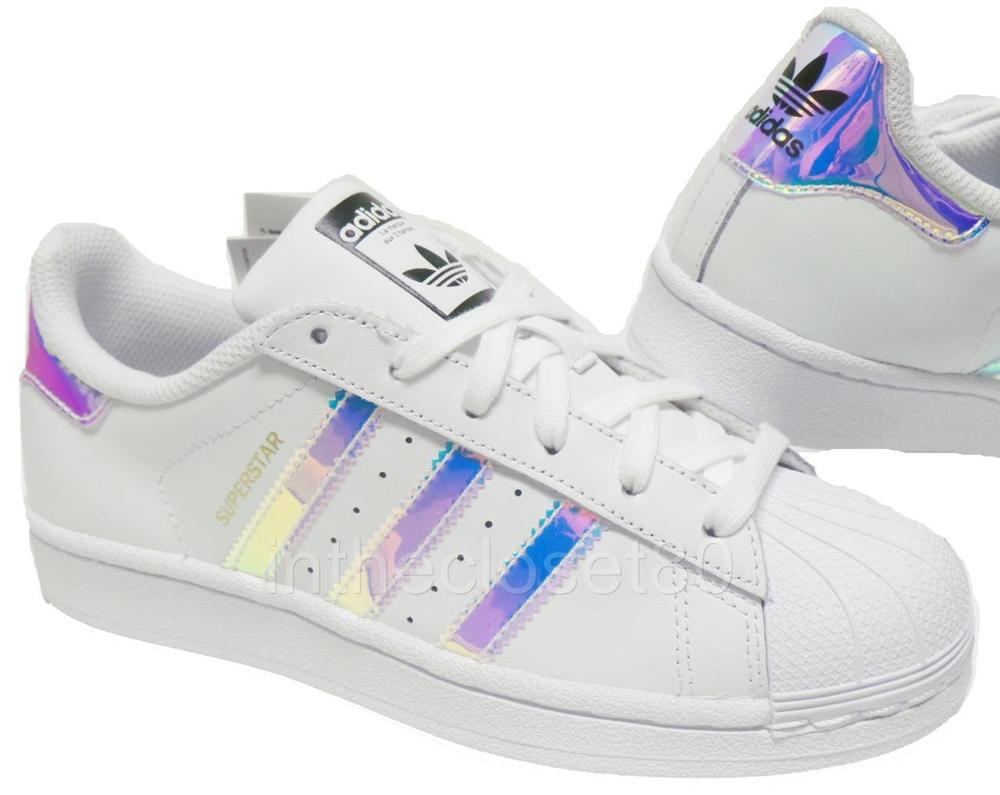 Adidas Superstar Silver Glitter Stripes