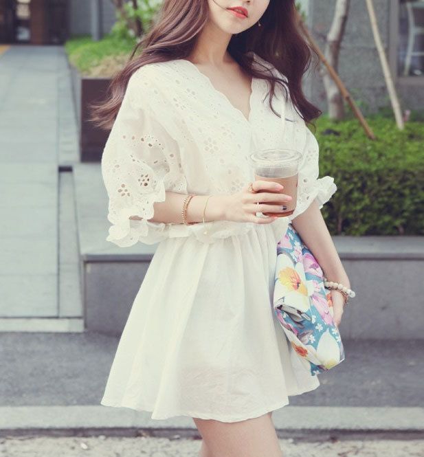 [grhmf260002060]Elegant Lace With Floral White High Waist Dress