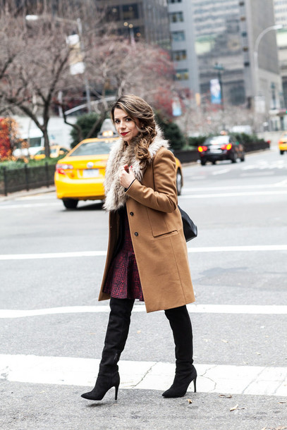 the corporate catwalk blogger coat winter dress black boots