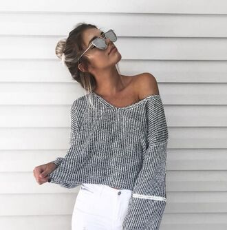 sweater grey sweater ribbed knitwear white jeans mirrored sunglasses off the shoulder sweater
