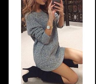 dress grey jumper dress oversized sweater