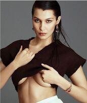 sweater,crop,cropped sweater,bella hadid,model,instagram,editorial,bracelets,earrings