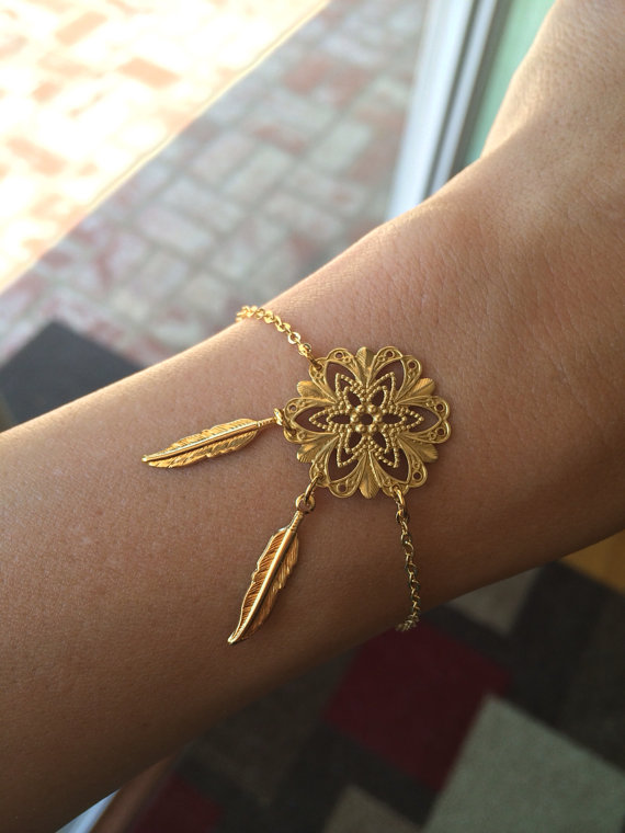 Dreamcatcher bracelet, feather bracelet, filigree, gold bracelet