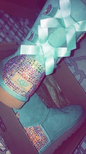 shoes,blue,uggs cute colorful,swarovski,crystal,uggs with bows,baby blue