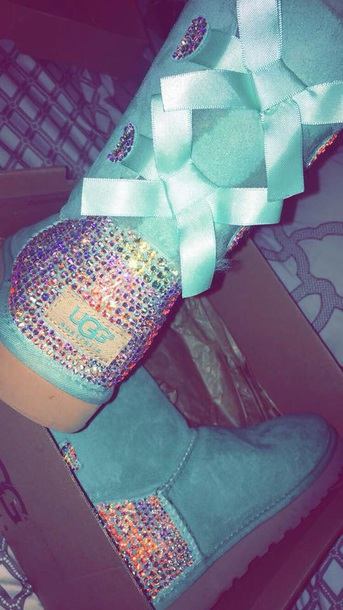 shoes blue uggs cute colorful swarovski crystal uggs with bows baby blue