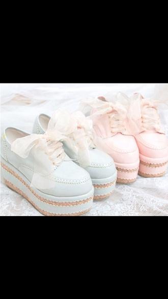 shoes pastel pink pastel platforms pastel blue laces punk girly pastel goth emo goth cool kawaii