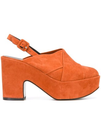 women mules leather suede yellow orange shoes