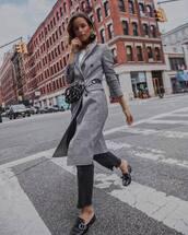 bag,belt bag,coat,checkered,white shirt,mules,jeans,black jeans,earrings