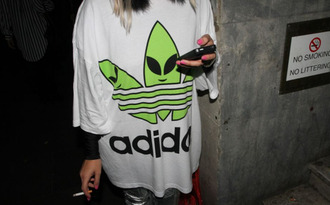 adidas blouse green alien white t-shirt shirt black white t-shirt cute aaaa color colorful ayylmao lmao word oversize