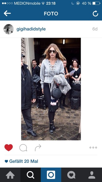 gigi hadid grey sweater style grey top lace up fall sweater lace up jumper