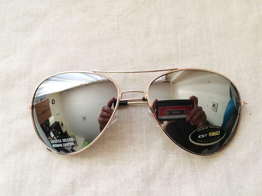 Retro aviator mirrored silver lens glasses vintage classic golden metal frame