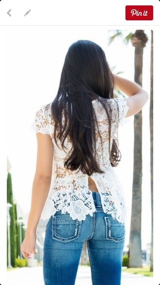 blouse white shirt lace top open back