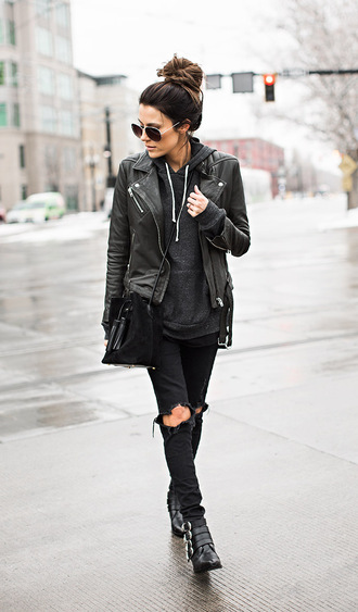 shoes leather jacket black hoodie sunglasses ripped jeans buckle boots blogger