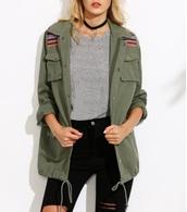 jacket,olive green,tribal pattern