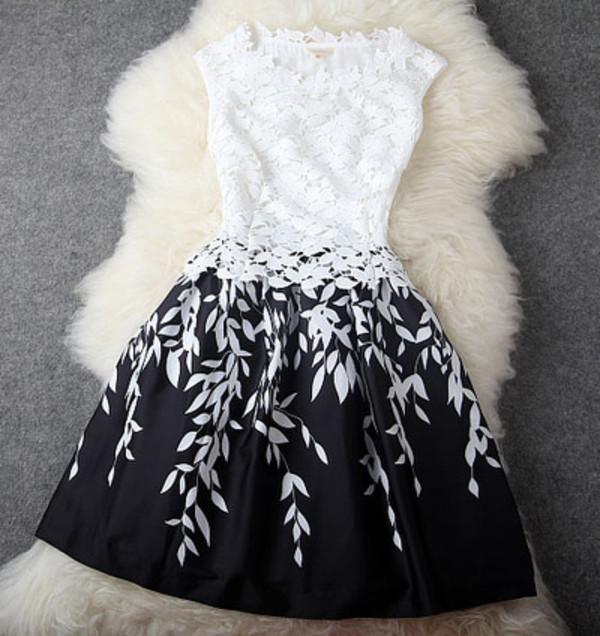 dress graduation bridemaid black and white black white prom lace leaves