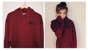 sweater,hoodie,red sweater,burgundy,cute,cotton,winter sweater,fall sweater