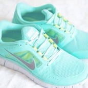 shoes,nike frees,light blue,yellow