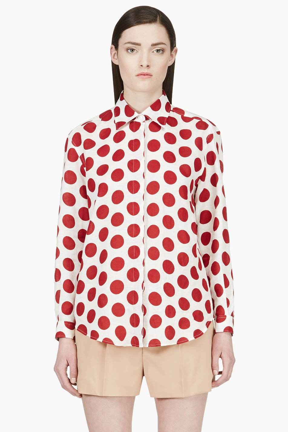 Burberry prorsum white and red polka dot blouse for White red polka dot shirt