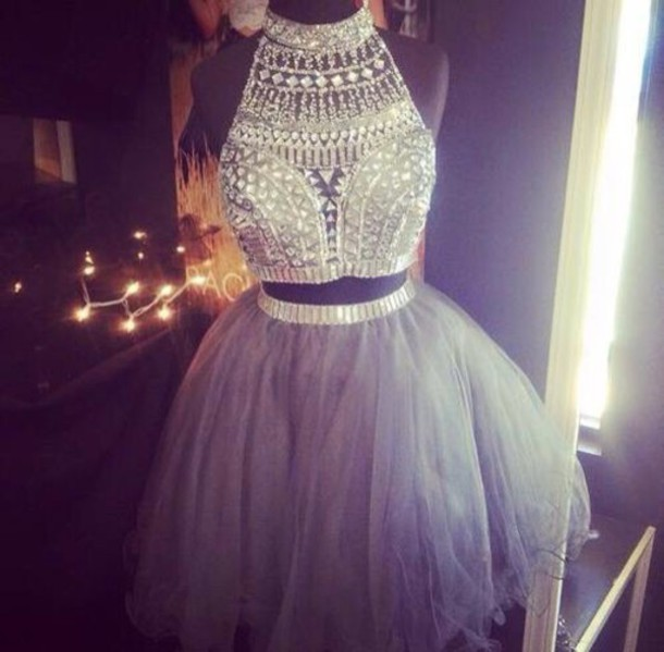 dress cristal shirt jewels crop tops blouse sparkle prom sleeveless dress two piece dress set grey 2piece dress diamonds beautiful
